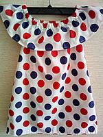 Детское летнее платье Волан на плечах. 98-116р. Крупный горошек., фото 1