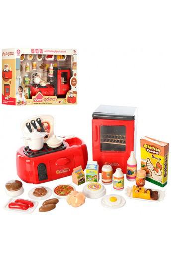 Набір побутової техніки 979-23 холодильник, плита, продукти, світло, на батарейку, в коробці, 35-22-9 см.