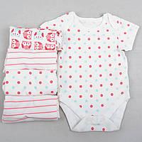 """Бодики для девочки Marks&Spencer """"Розовая совушка"""" набор 5 шт, размер 68 см"""