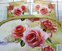 """5D Двуспальное постельное белье """"Лиша"""" розовые розы"""