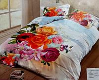 """5D Сатиновое постельное белье Евро размера """"Лиша"""" букет цветов"""