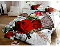 5D Сатиновое постельное белье Евро размера LISHA красная роза