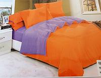 Однотонное полуторное постельное белье East Comfort оранжево-фиолетовое