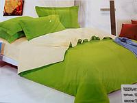 Однотонное полуторное постельное белье East Comfort зеленое