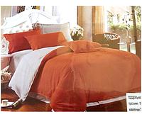 Комплект двоспального сатинового постільної білизни East Comfort коричнево-бузкове