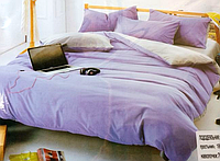 Двоспальне сатинове постільна білизна East Comfort бузково-сіре