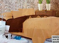 Двоспальне сатинове постільна білизна East Comfort пісочне