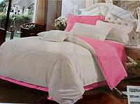 Однотонне двоспальне постільна білизна East Comfort сіро-рожевого забарвлення