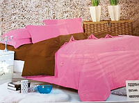 Однотонне двоспальне постільна білизна East Comfort рожево-коричневого кольору