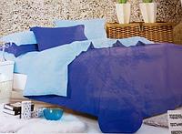 Однотонное двуспальное постельное белье East Comfort синего цвета