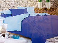 Однотонне двоспальне постільна білизна East Comfort синьо-блакитного забарвлення