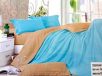Комплект сатинового постельного белья Евро размера East Comfort бежево-голубое