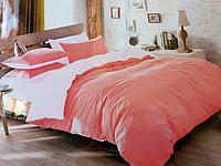Комплект сатинового постельного белья Евро размера East Comfort розовое
