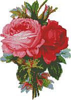 Алые розы (счетный крест, бисер)