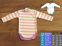 Боди с длинным рукавом горловина стойка на кнопках для мальчика или девочки рубчик полоска