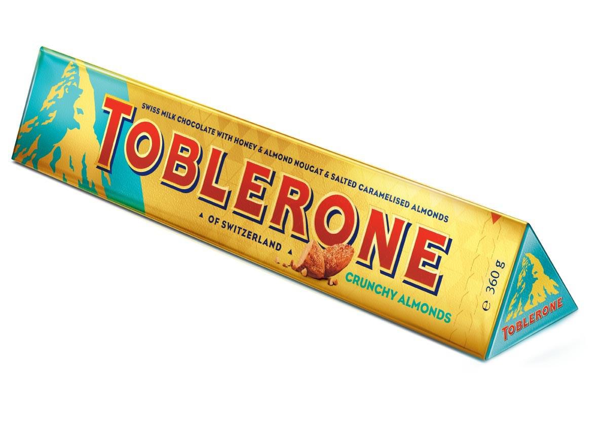 Швейцарский молочный шоколад Toblerone с медом, миндальной нугой и соленым карамельным миндалем 100г