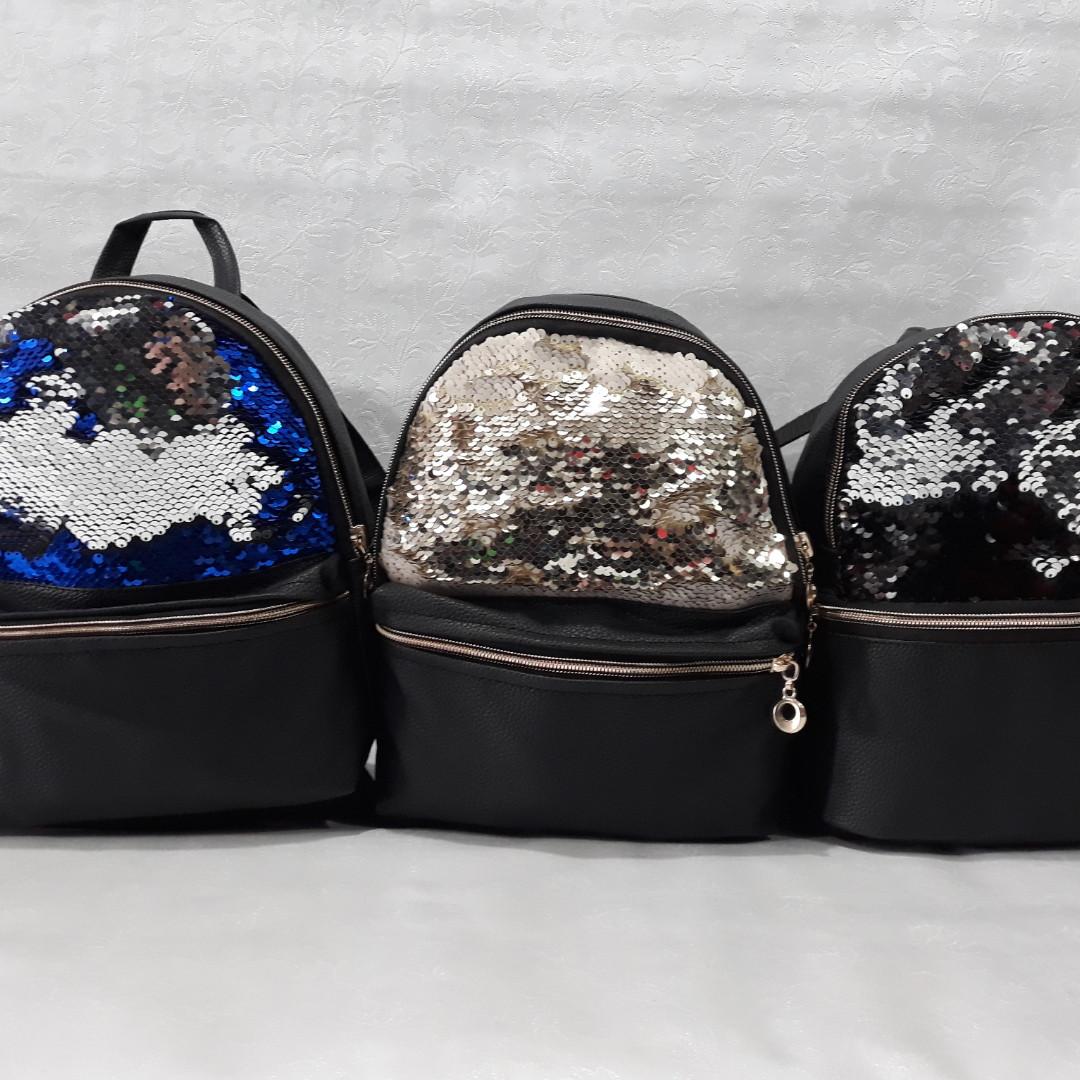 Стильный женский рюкзак, с двухсторонними пайетками