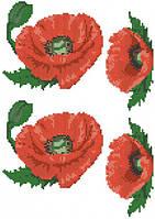 Красные маки (счетный крест, бисер)
