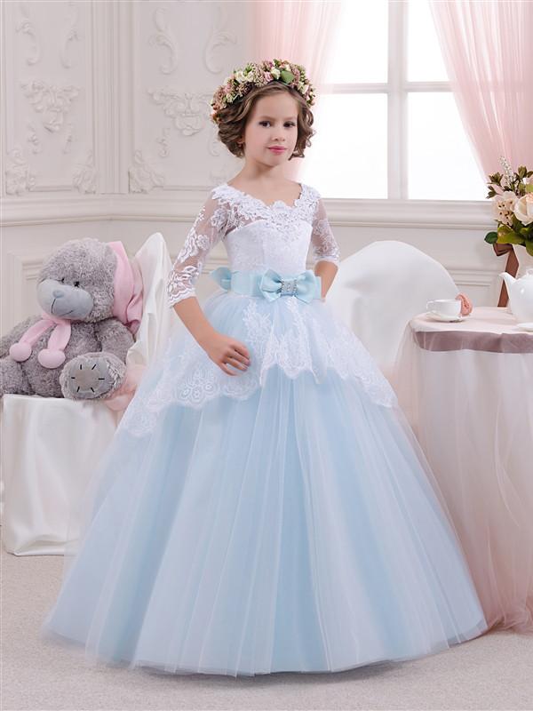 Платье детское длинное со шлейфом, ажурный лиф и рукав