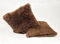 Хутряна подушка 50х50 см. коричнева