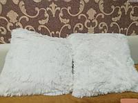 Хутряна подушка 50х50 см., - біла