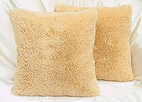 Хутряна подушка 50х50 см. беж