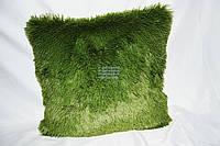 Декоративная ворсистая подушка 50х50 см. зеленая