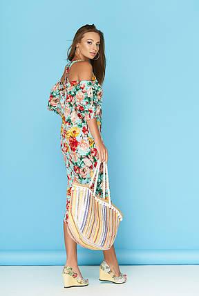 Летнее платье рукав фонарик миди голубое в цветочек, фото 2