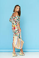 Летнее платье рукав фонарик миди голубое в цветочек