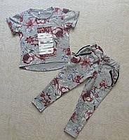 Детский спортивный костюм для девочек с цветочным принтом, фото 1