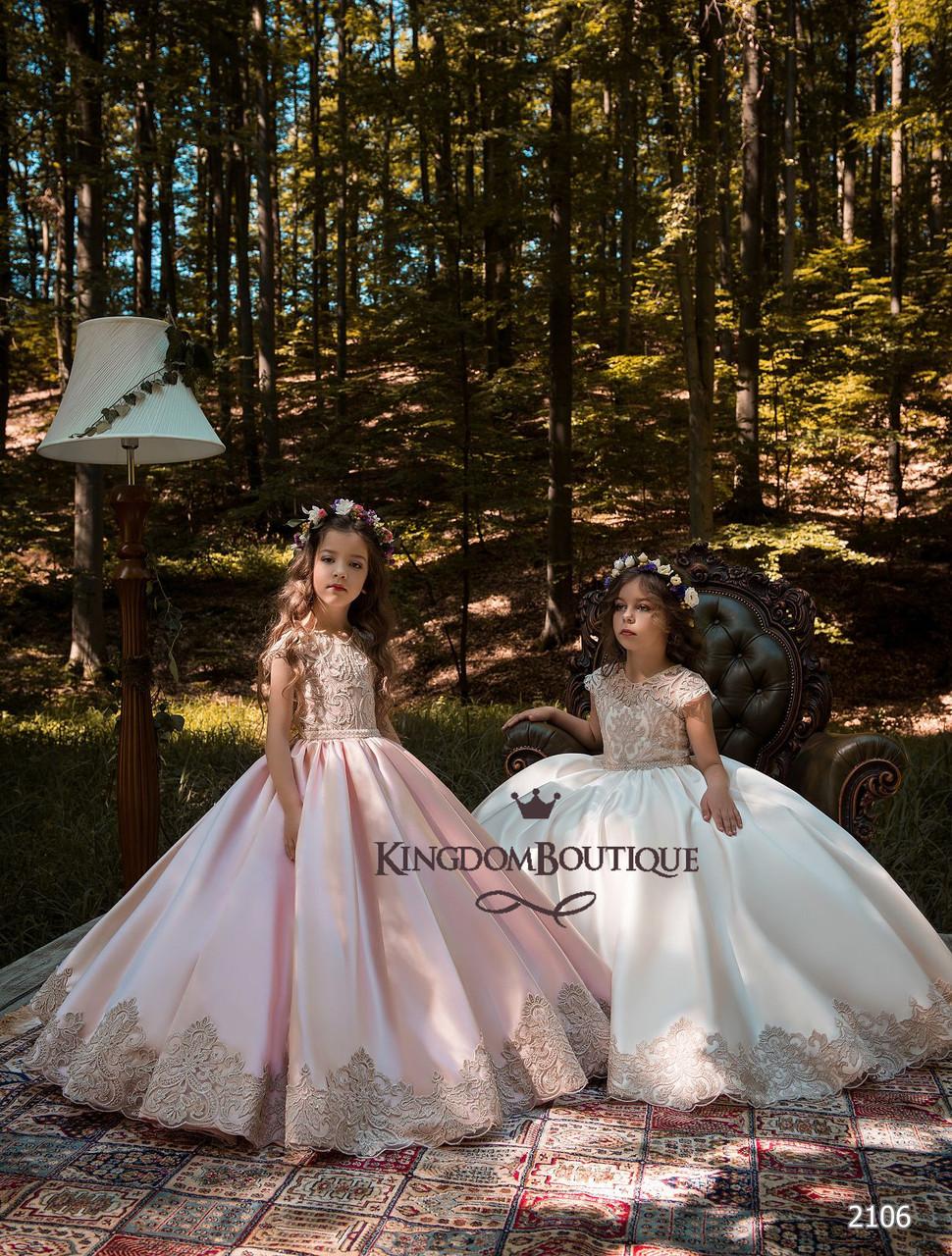 Платье детское длинное с красивой отделкой лифа и низа юбки. Пудра и кремовый цвет