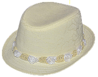 Шляпа детская челентанка цветы бежевый + бежевые цветы