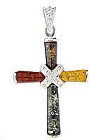 Крестик с янтарем серебряный