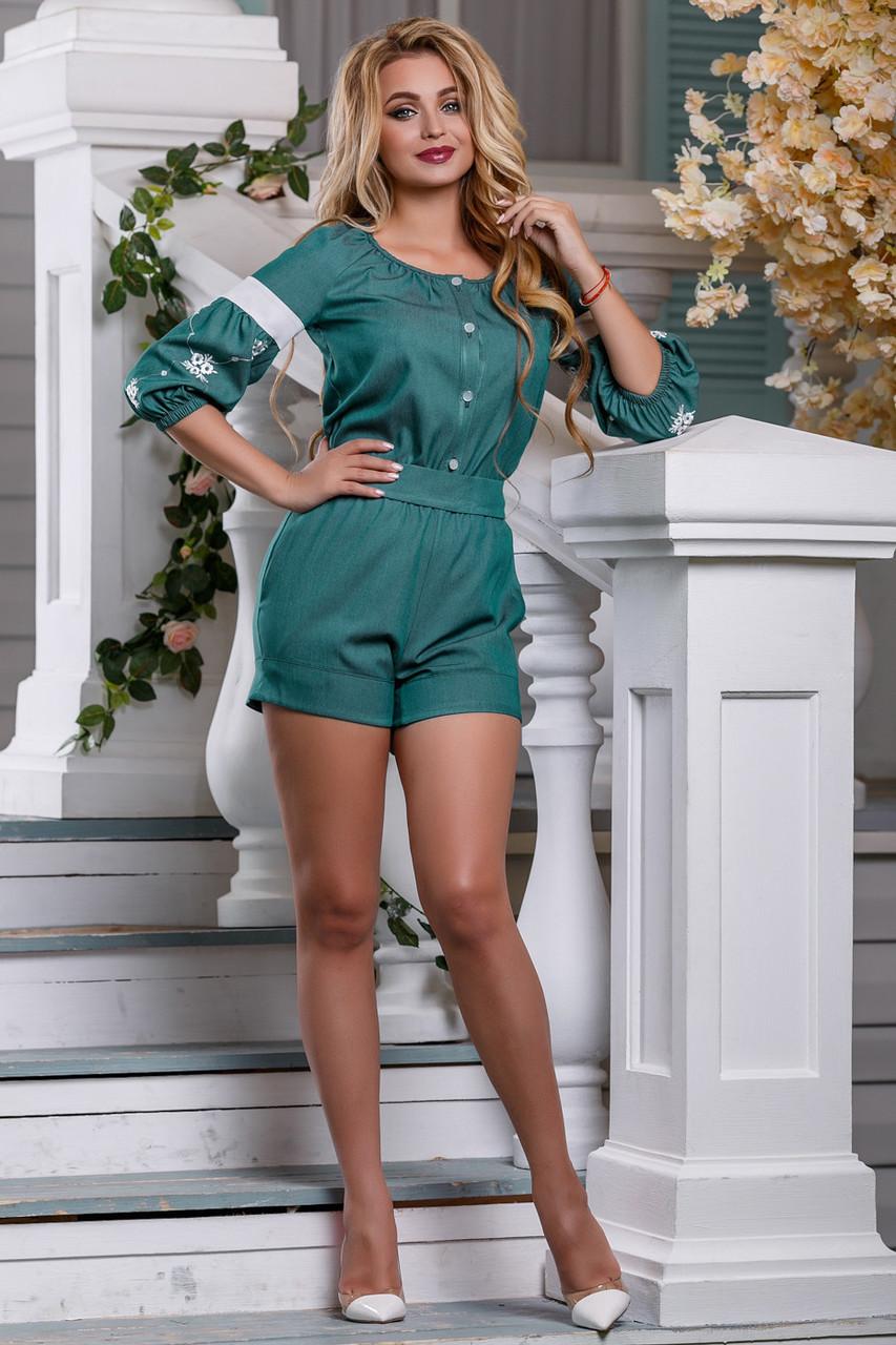 Комбинезон летний шортами зелёный с вышивкой нарядный