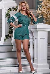 Женский комбинезон, р. 42, 44, 46, 48, с вышивкой, зелёный, коттон