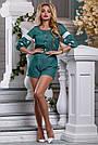 Комбинезон летний шортами зелёный с вышивкой нарядный, фото 2