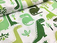 """Польская хлопковая ткань """"динозавры зеленые на белом"""""""