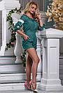 Комбинезон летний шортами зелёный с вышивкой нарядный, фото 3