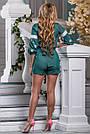 Комбинезон летний шортами зелёный с вышивкой нарядный, фото 4