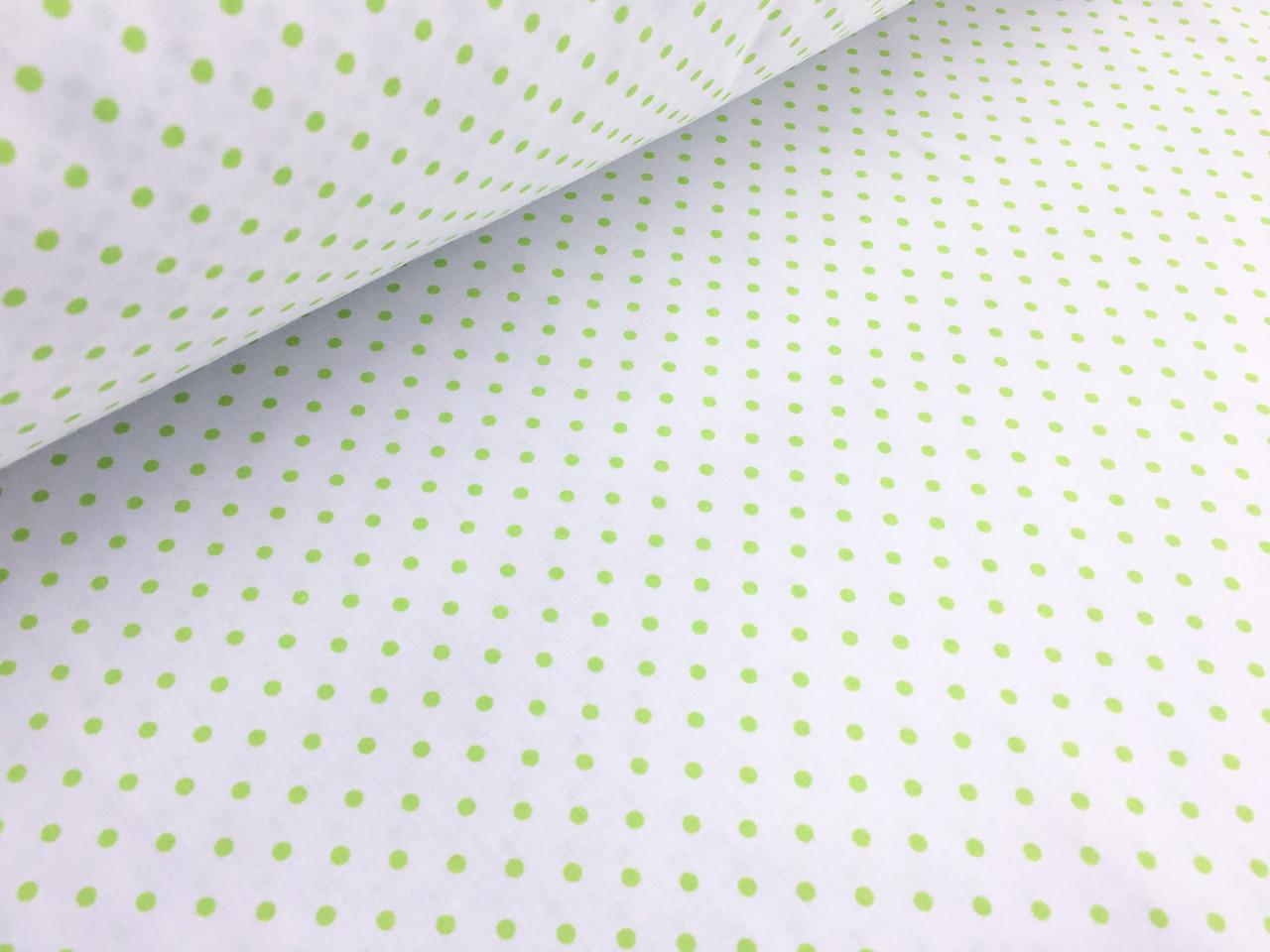 """Польська бавовняна тканина """"горох зелений на білому"""""""