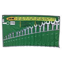 Набор ключей комбинированных дюймовых 17 ед. 51890 JBM, фото 1