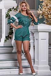 Женский комбинезон, летний, с вышивкой, синий, коттон, размеры от 42 до 48 Зеленый, S