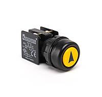 KB14RSO Кнопка управления нажимная с водозащитным кольцом и стрелкой (1НО+1НЗ) желтая