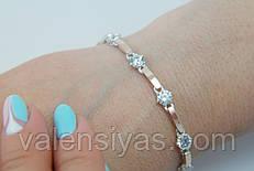 Браслет серебряный женский с золотыми пластинами арт. 30083