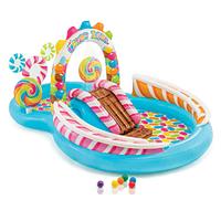 Детский надувной игровой центр бассейн с горкой и распылителем Карамель 57149, фото 1