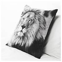 """ИКЕА """"УРСКОГ"""" Подушка, лев, серый, 50x50 см"""