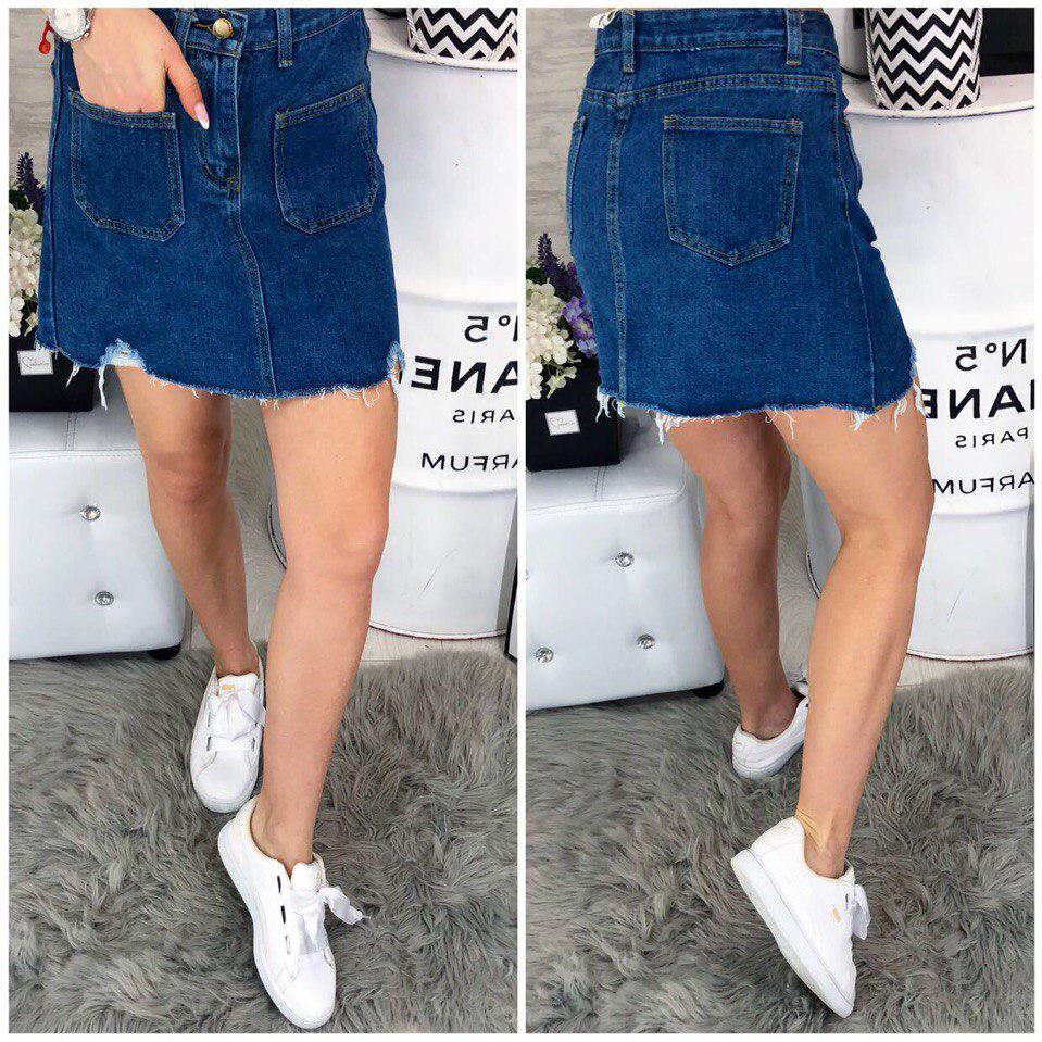 Стильная синяя джинсовая юбка