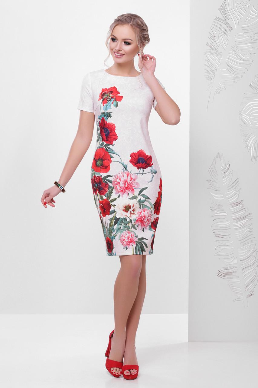 892d9ed39ee4 Красивое летнее платье футляр с короткими рукавами принт Кружево-маки  Мальва к р бежевое