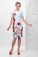Красивое летнее платье футляр с короткими рукавами принт Кружево-маки Мальва к/р бирюзовое