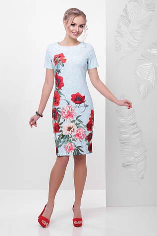 Красивое летнее платье футляр с короткими рукавами принт Кружево-маки Мальва к/р бирюзовое, фото 2